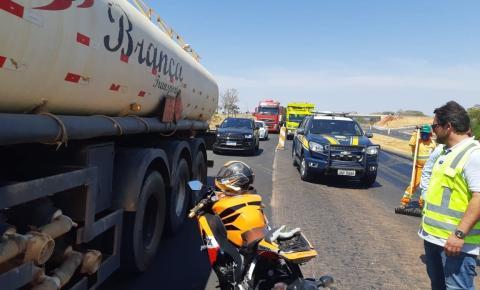 Polícia Rodoviária Federal de Catalão registra acidente com moto e carro em trecho em obras
