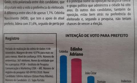 Povo de Ouvidor quer renovação na política,  aponta Jornal O Popular