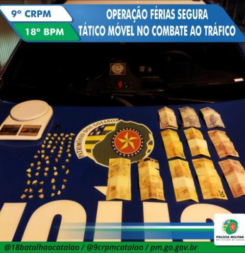 Suspeito de tráfico de drogas é preso pela equipe do Tático Móvel,  na Operação Férias Segura , em Catalão